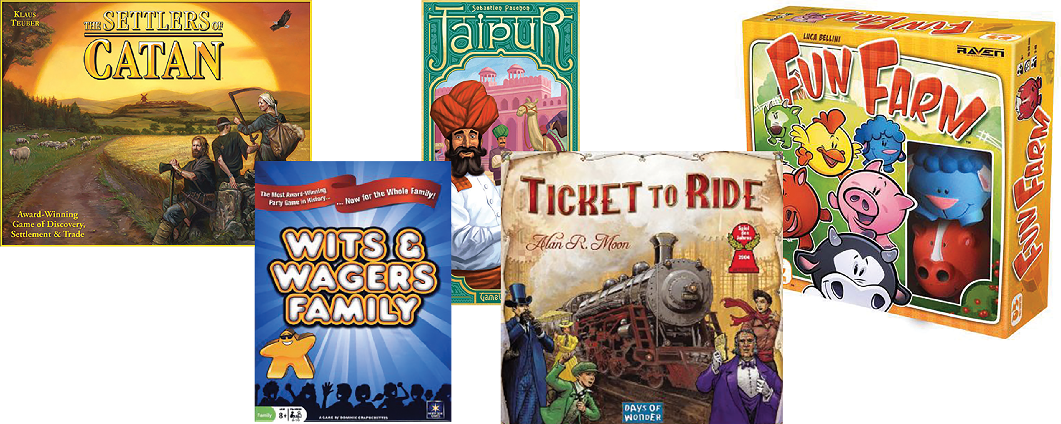 A number of board games including TIcket to Ride, Settlers of Cata and Jaipur