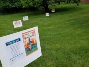 Storywalk trail at the Powell branch library